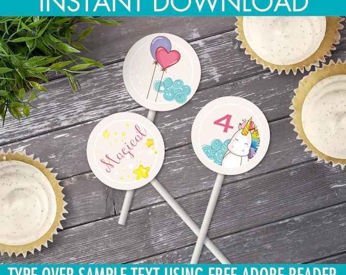 "Unicorn Cupcake Toppers -  2"" Circle Tag, Unicorn Theme Decor, Gift Tag, Unicorn Birthday | Editable Text - Instant Download PDF Printable"