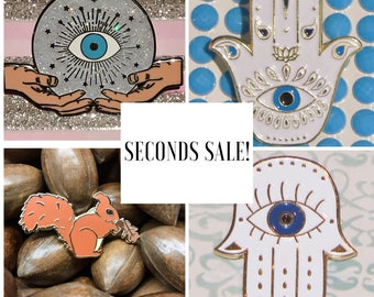 SECONDS SALE! Enamel Pins, Squirrel, Hand Of Hamsa, Crystal Ball with Evil eye... ltd!