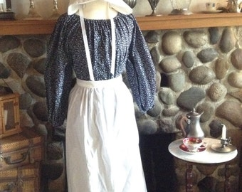 Girls 10/12  Calico Blue Pioneer Prairie Colonial Dress Costume Civil War With Bonnet Ready to Ship