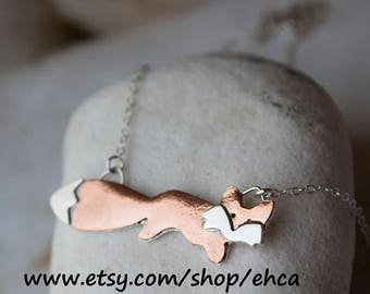 Jumping Fox Copper and Sterling Silver Necklace