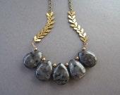 Granite Teardrop Stone Bib Necklace - Antique Brass Chain - 24-inch Layering Necklace