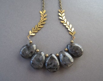 Granite Teardrop Stone Bib Necklace - Antique Brass Chain - 24-inch Layering Necklace