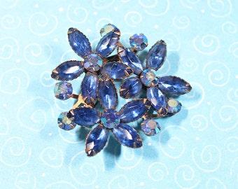 Vintage Blue Rhinestone Brooch, Rhinestone Flower Cluster Pin, Vintage Women's Jewelry