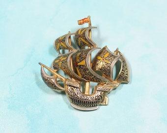 1960's Vintage Damascene Ship Brooch, Spanish Galleon Pin, Damascene Jewelry