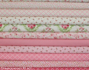 11 fat quarter bundle GUERNSEY in Bloom and Linen .. Brenda Riddle Designs .. Moda fabric ..  Linen and Pink colorway