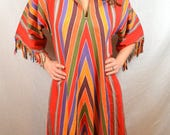 AMAZING Rare Vintage Mexican Rainbow Chevron Striped Dress