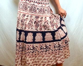 Lovely Vintage 70s Vtg 1970s Tapestry Hippie Wrap Around Skirt