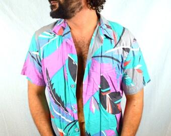 Men's Vintage Cotton Hawaiian Shirt - Zuma Beach by Jantzen