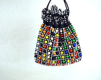 Beaded Vintage Kitschy Fringe Pouch Bag