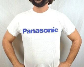 Vintage 80s Panasonic White Tshirt Tee Shirt