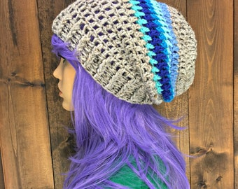 Crochet Slouch Beanie Hat Toque with Chunky Brim / MOONGLADE / Blues