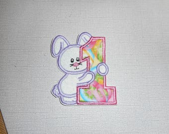 Free Shipping Ready to Ship Number  1 Bunny Machine Embroidery iron on applique
