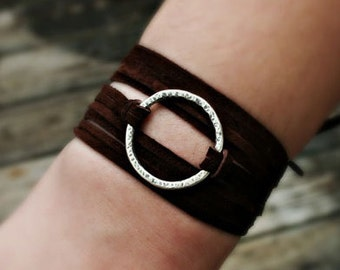 Sterling Silver Circle Wrap Bracelet with Suede Leather Cord, Handcrafted, Black or Brown Cord, Rustic, Boho, Hippie, Gift for Her