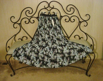 Long Blue Floral Skirt Pleated / Tent Dress Secretary Chic ML