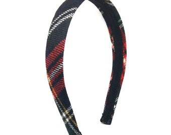 Tartan Plaid Headband - Traditional tartan navy, red, yellow, green - Preppy Adult Headband, Preppy Girls Headband - Blair Waldorf Headband