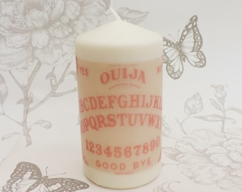 Red retro ouija ouija  pillar candle -spiritism candle -halloween -gothic home decor- occult - witchcraft -macabre