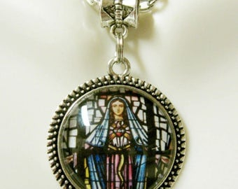 Miraculous Medal stained glass window necklace - AP28-005
