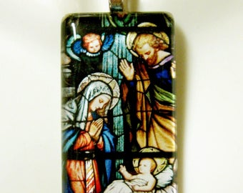 The Nativity stained glass window pendant with chain - GP01-268
