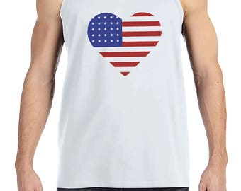 Men's 4th of July Tank Top - Heart American Flag - White Tank - American Flag 4th of July Party Shirt - Patriotic USA Flag Tank Top
