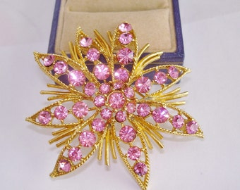 Star Pink Rhinestone Brooch Gold Tone.