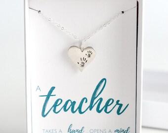 Silver Teacher Necklace - Education Gift - Gift for Teacher - Teacher Appreciation - Teacher Gift Necklace - Teachers Heart Necklace