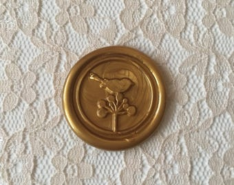 Bird on Flower  and Stick Flexible Wax Seals, 1.2 Inches in Size with One Inch Adhesive