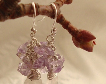 Wire Wrapped Rose Quartz Briolette with Chipped Purple Amethyst Cluster Small Dangle Sterling Silver Earrings