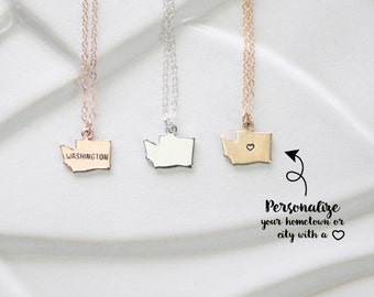 Tiny Gold Washington Charm Necklace, Miniature State Washington Pendant, Washington Necklace, Silver State, Gold State with Heart, bracelet
