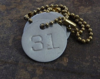 Number 31 TAG, vintage tag, aluminum number tag, sheep, cow, livestock tag