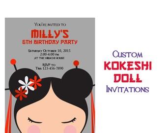 Kokeshi Doll Party Invitation, Tea Party Birthday Party, Asian Inspired 5x7 Birthday Invitations, Girls Birthday Invite