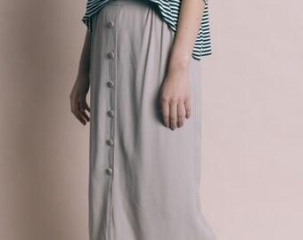 Vintage 90s Gray Button Up Slinky Midi Skirt   M