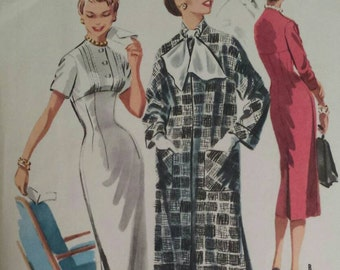Vintage 1950s Dress Pattern Button Front Empire Waist Wiggle Dress and Coat 1955 McCalls 3495 Bust 32