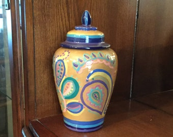 Ceramic clay pottery Ginger Jar, cookie Jar, Canister, Biscotti Jar, Handpainted