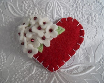 Felt Flower Brooch Red Heart Pin Beaded Flowers Valentines Day