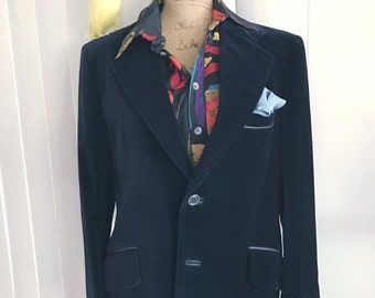 Fabulous Vintage Men's Sy Devore Hollywood Blue Velvet Smoking Jacket Blazer - 50's 60's era