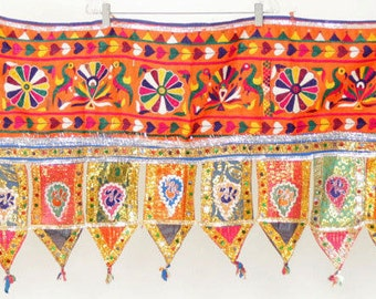 FREE SHIPPING!! Long, Toran, Valance, Embroidered, Belly Dance, Gujarat, Tribal, Mirrored, Textile, Wall Hanging, India, Handmade, Gypsy