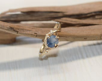 Twig Engagement Ring - Montana Sapphire Ring in White Gold, Yellow Gold, Rose Gold or Platinum