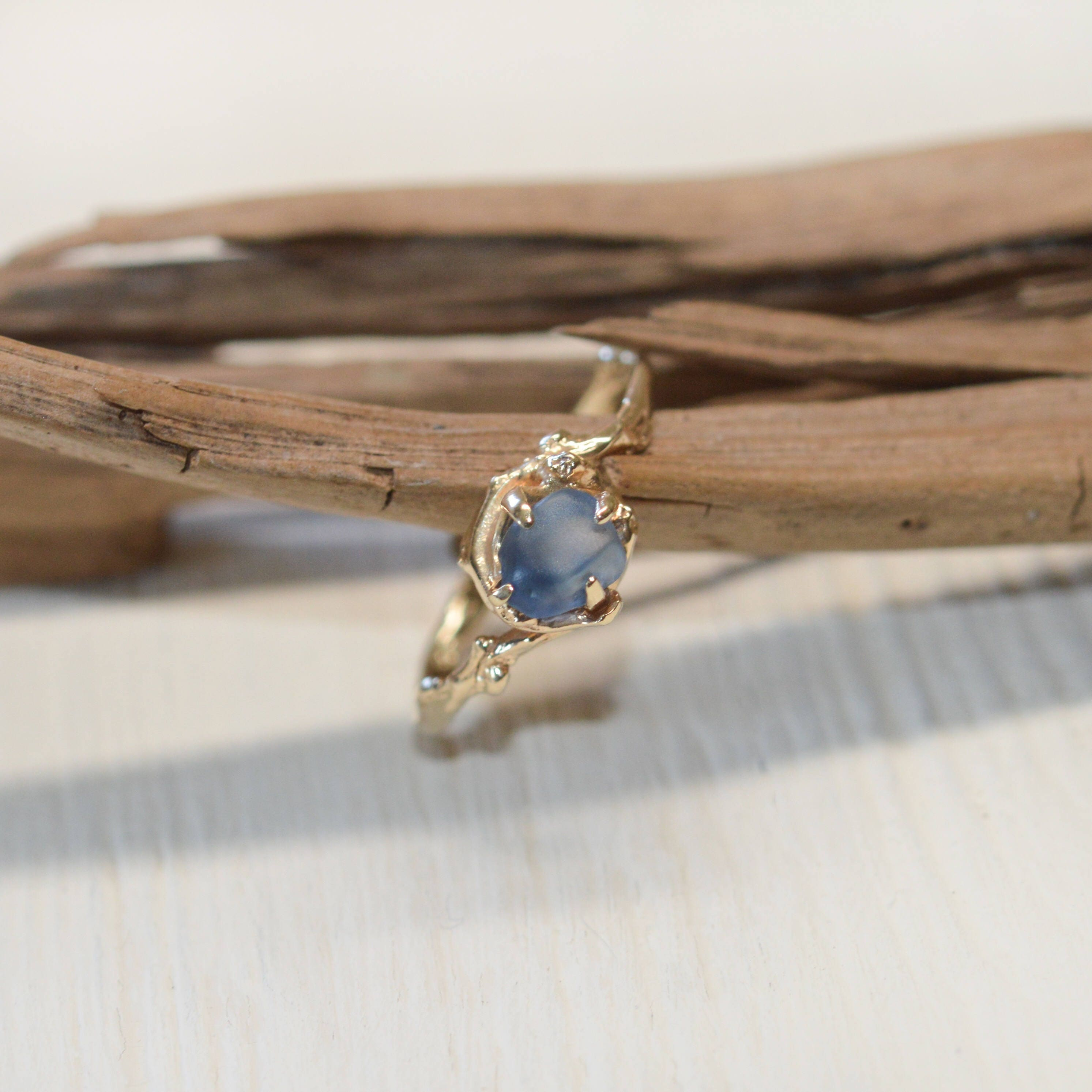 Twig Engagement Ring Montana Sapphire Ring in White Gold