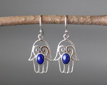 Hamsa Earrings - Gemstone Hamsa - Blue Lapis Earrings - Judaica Jewelry - Bali Silver Earrings - Lapis and Silver Earrings - Hand of Fatima