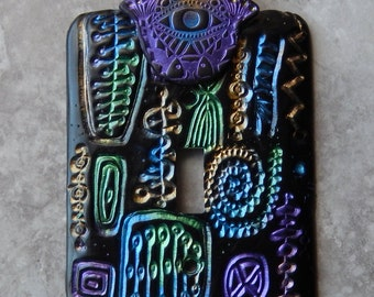 Retro Hamsa, light switch cover, metal switch plate with polymer clay,Retro motif, protective Hamsa, one of a kind