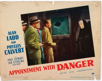 APPOINTMENT WITH DANGER, Vintage Alan Ladd Noir Lobby Card, 1951
