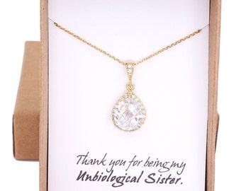 Lelanie - Luxe Cubic Zirconia Teardrop Necklace, Bridal Bridesmaids, CZ, Crystal, Big Diamond Necklace, Silver Rose Gold Necklace
