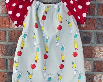 Bunny and Balloon Sized 2T Toddler Girls Dress with Red and White Polka Dot Flutter Sleeves Ready to Ship
