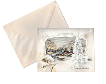 Christmas Card Vintage 1950's Sleigh Ride Greeting with Envelope An Artistic Card