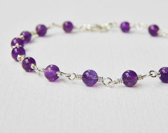 Amethyst Bracelet - Sterling Silver Beaded Bracelet Rosary Bracelet Beadwork Bracelet Round Bead Bracelet Rosary Chain