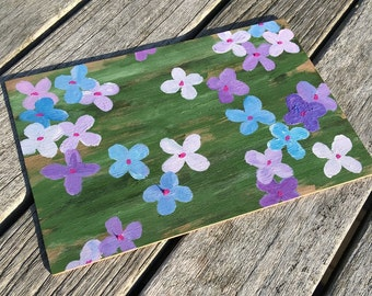 Hand-Painted Wood Greeting Card- purple & blue pansies with green background