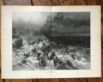 c. 1900 THE GREAT FLOOD lithograph - original antique print - historical disaster - flooding - water damage hurricane  natural disaster