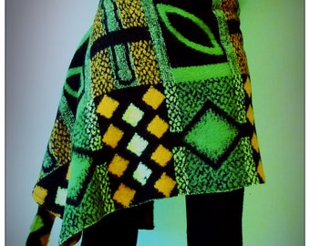 Upcycled Blanket Wrap Tie Skirt Orange & Green 60s Pattern                       Made in England UK