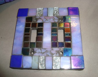MOSAIC LIGHT SWITCH Plate, Double, Wall Art, Wall Plate, Lavender, Silver, Iridescent Black