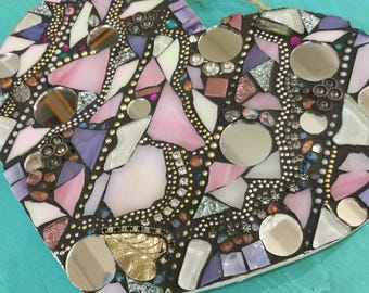MOSAIC HEART - Pink, Lavender, Gold, Silver, Sparkle
